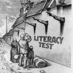 Cartoon depicting the literacy test